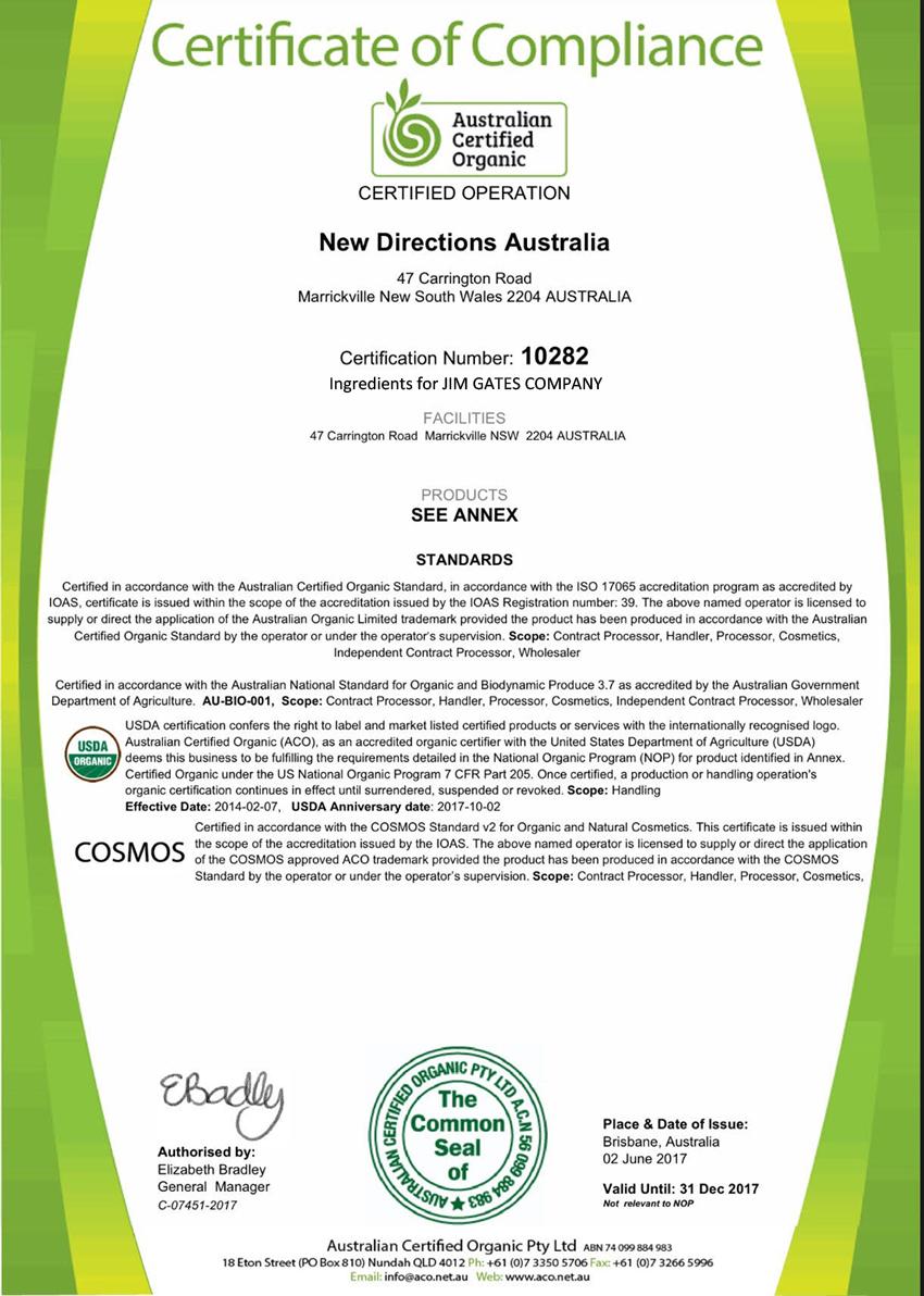 JIM GATES R.H.C.の製品に対するCOSMOS認証